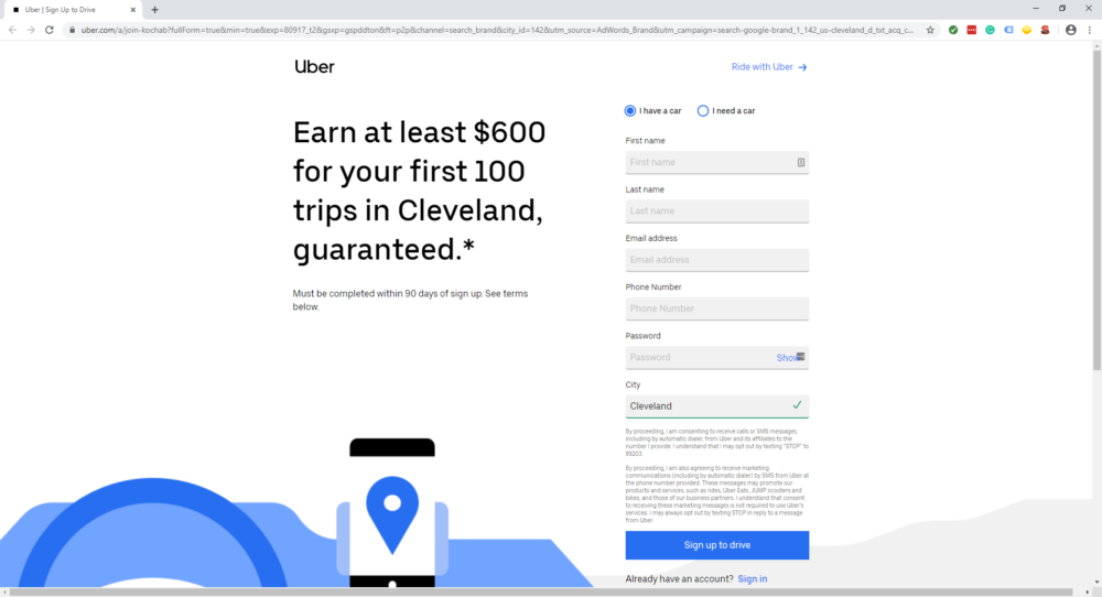 uber dedicated landing page with $600 offer