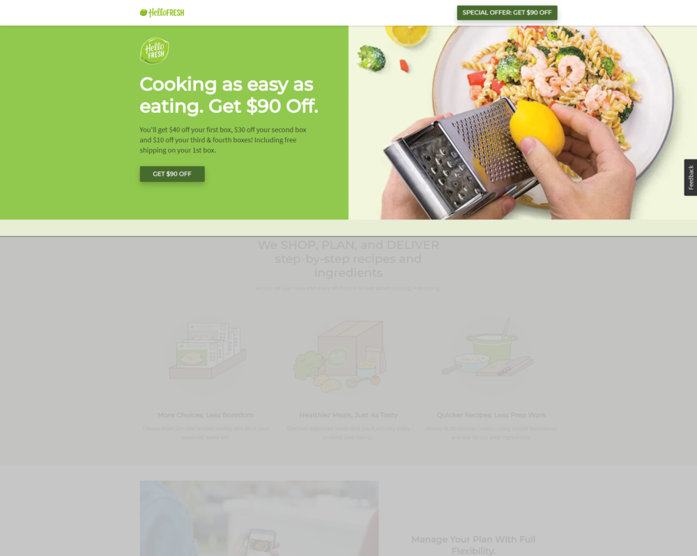 hellofresh landing page that says cooking as easy as eating get $90 off