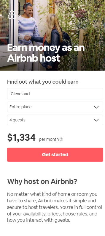 air bnb mobile landing page that says earn money as an air bnb host