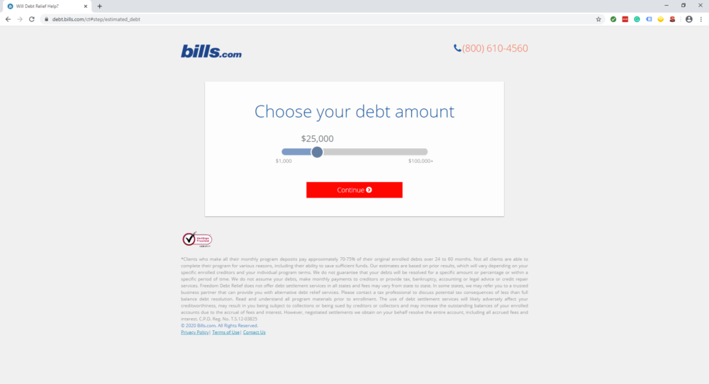 bills.com landing page that says choose your debt amount